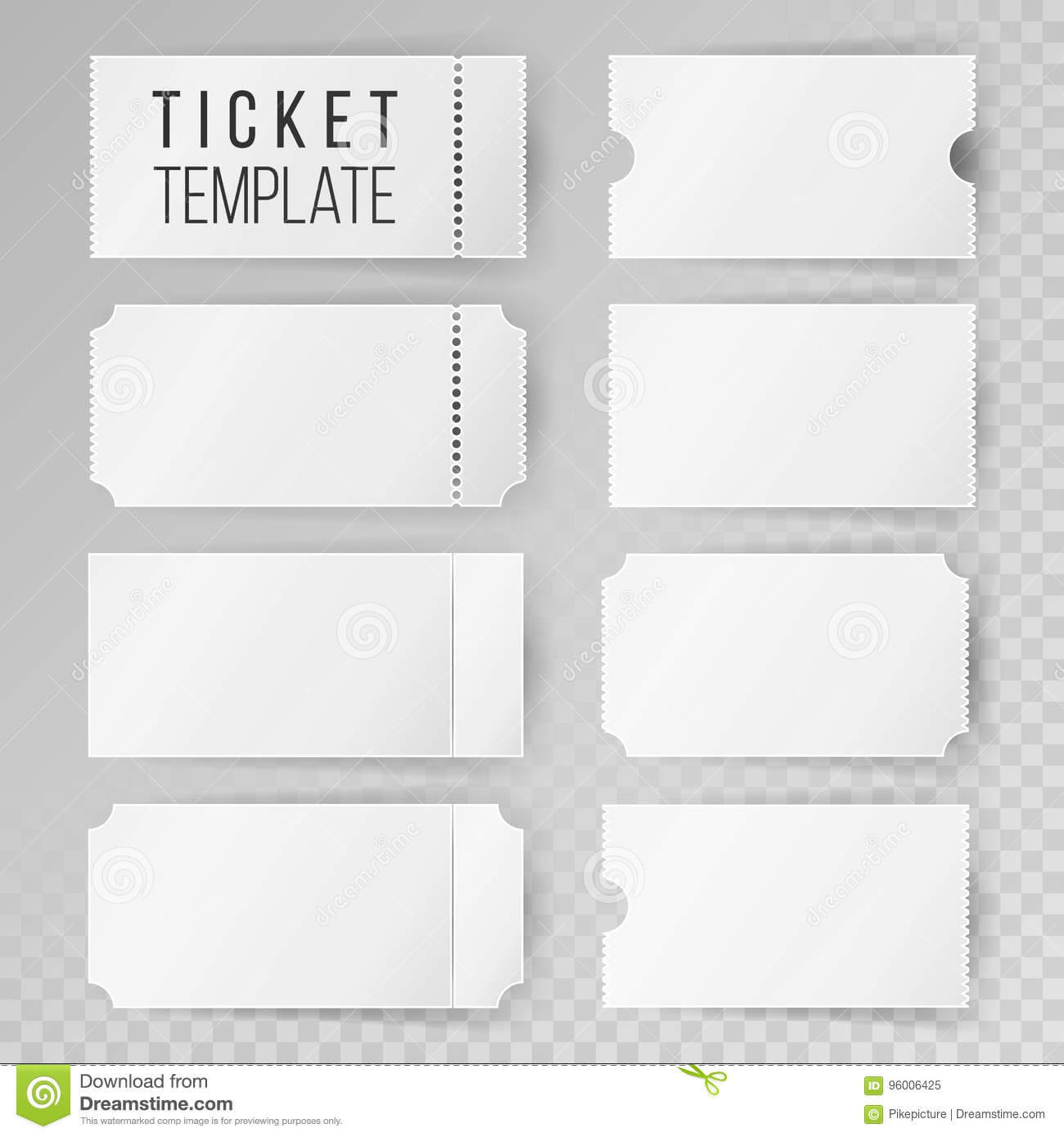 Ticket Template Set Vector. Modern Mock Up Wedding, Cinema with Blank Admission Ticket Template