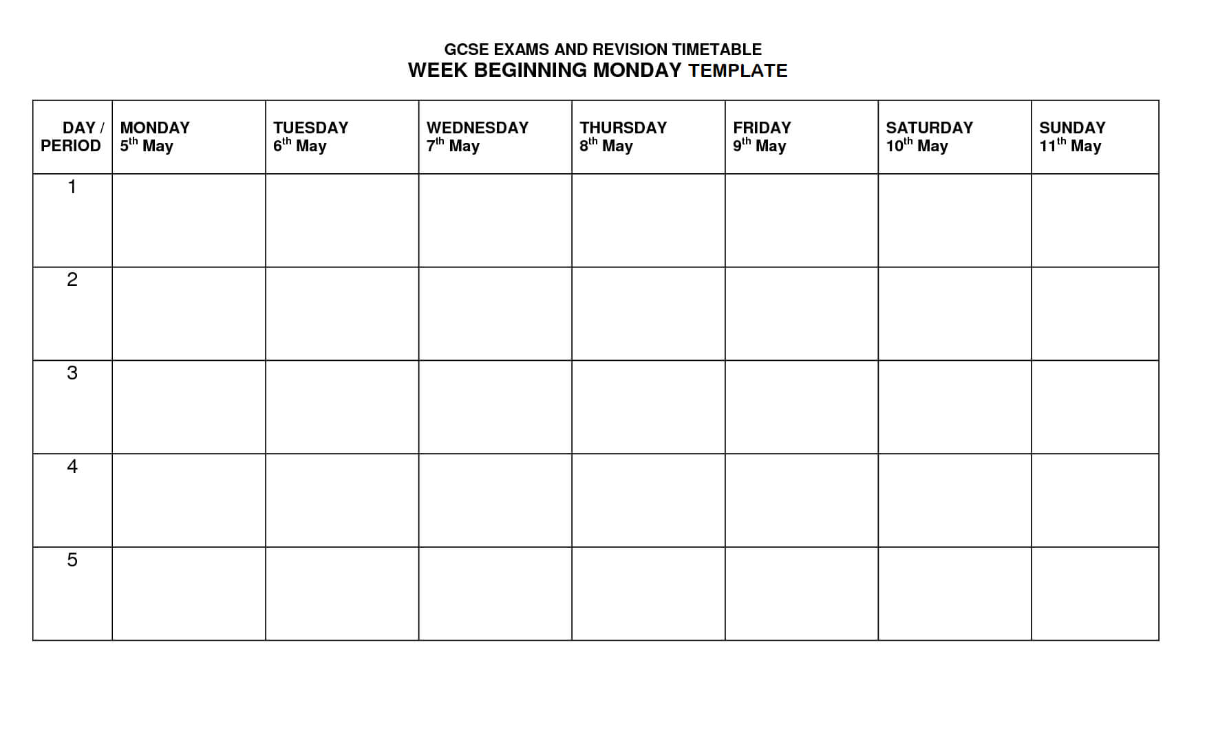 Timetable Template | Timetable Template, Class Schedule Pertaining To Blank Revision Timetable Template