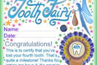 Tooth Fairy Certificate: Award For Losing Your Fourth Tooth with regard to Free Tooth Fairy Certificate Template
