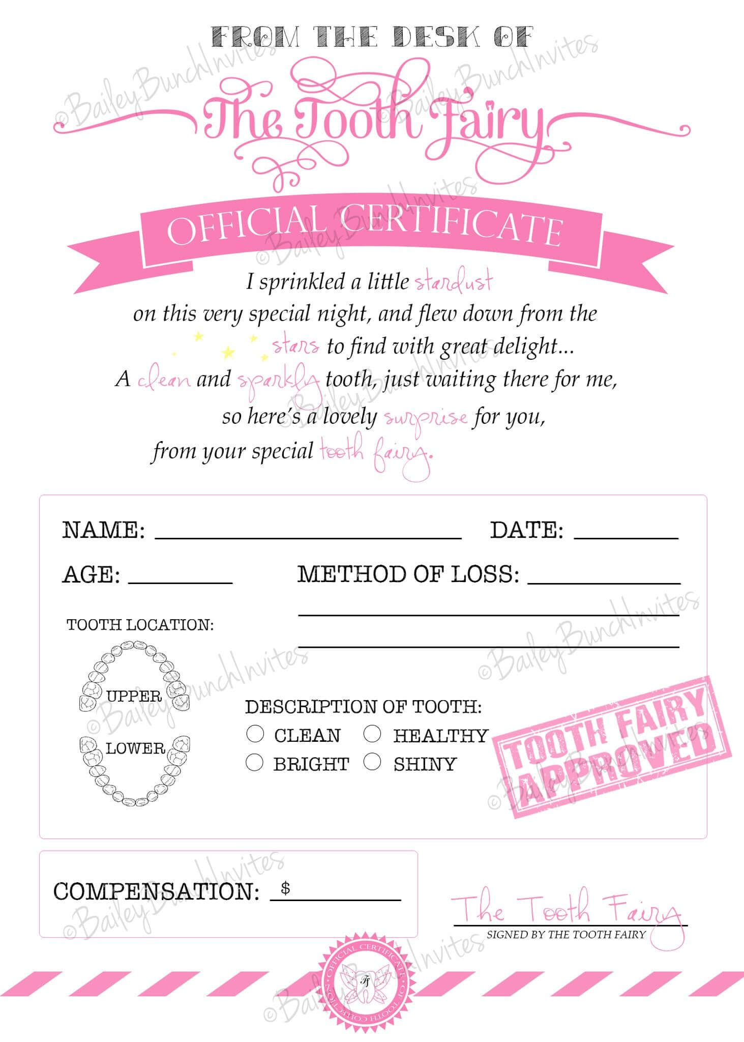 Tooth Fairy Certificate - Pink - Instant Download Inside Tooth Fairy Certificate Template Free
