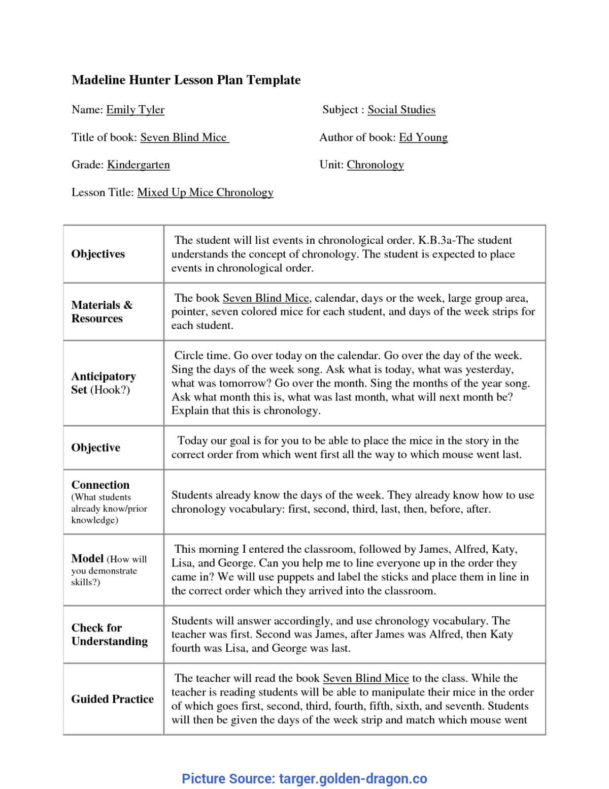 Top Madeline Hunter Lesson Plan Kindergarten Madeline Hunter within Madeline Hunter Lesson Plan Template Blank