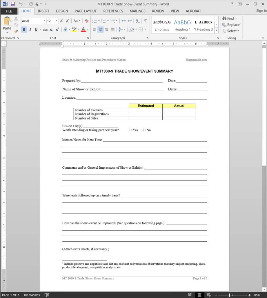 Trade Show-Event Summary Template | Mt1030-9 in Post Event Evaluation Report Template