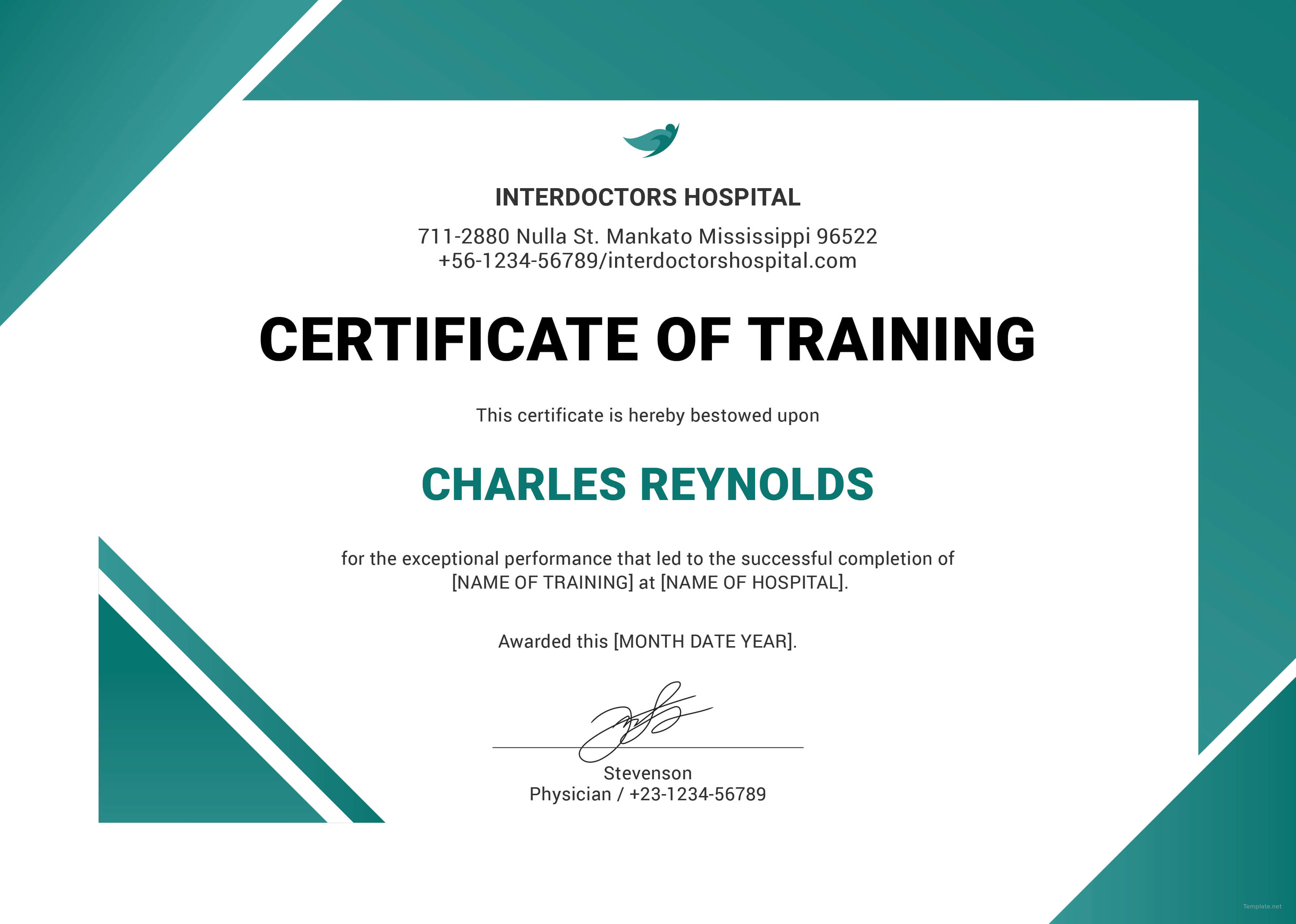 Training Certificate Templates Word for Training Certificate Template Word Format