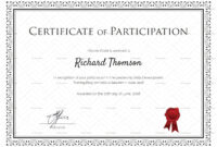 Training Participation Certificate Template Inside Free Templates For Certificates Of Participation