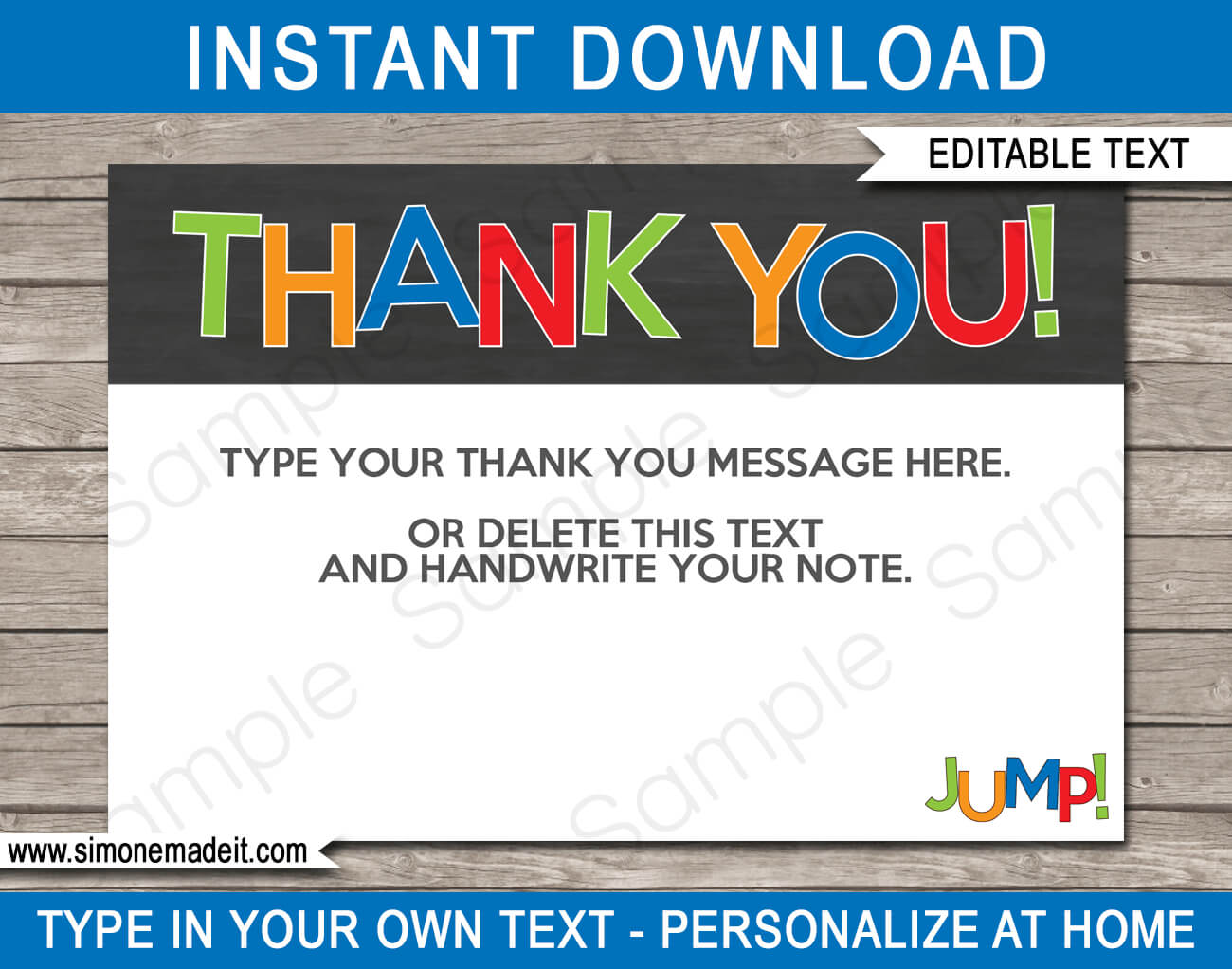 Trampoline Party Thank You Cards Template – Boys Throughout Soccer Thank You Card Template