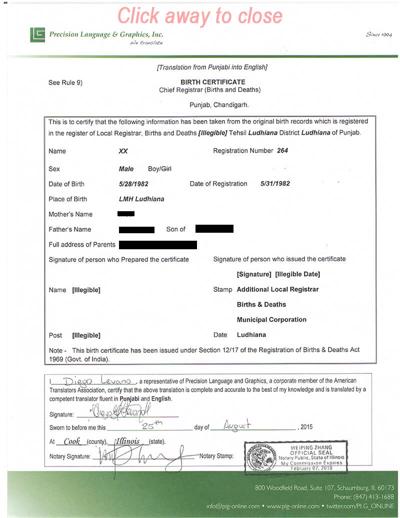 Translate Mexican Birth Certificate Sample Of Translated for Mexican Birth Certificate Translation Template