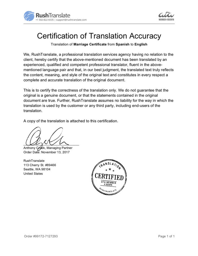 Translation Services throughout Birth Certificate Translation Template Uscis