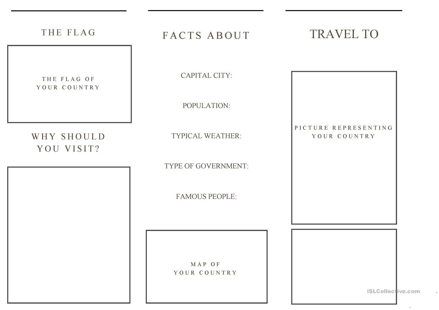 Travel Brochure Template And Example Brochure - English Esl within Travel Brochure Template For Students