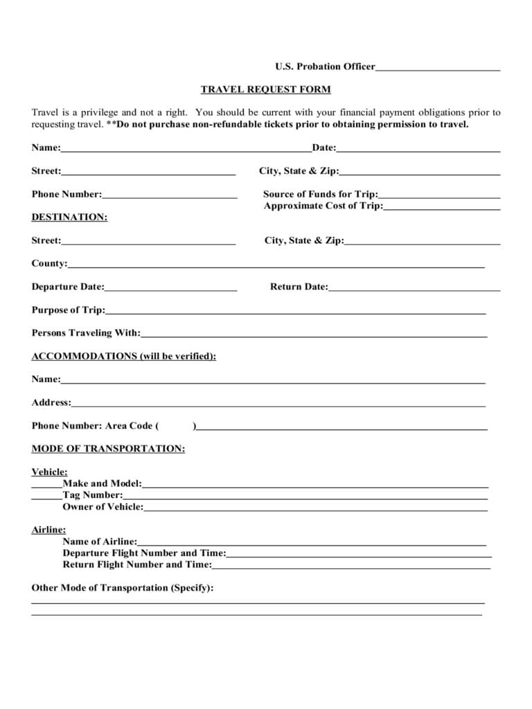 Travel Request Form - 2 Free Templates In Pdf, Word, Excel Throughout Travel Request Form Template Word