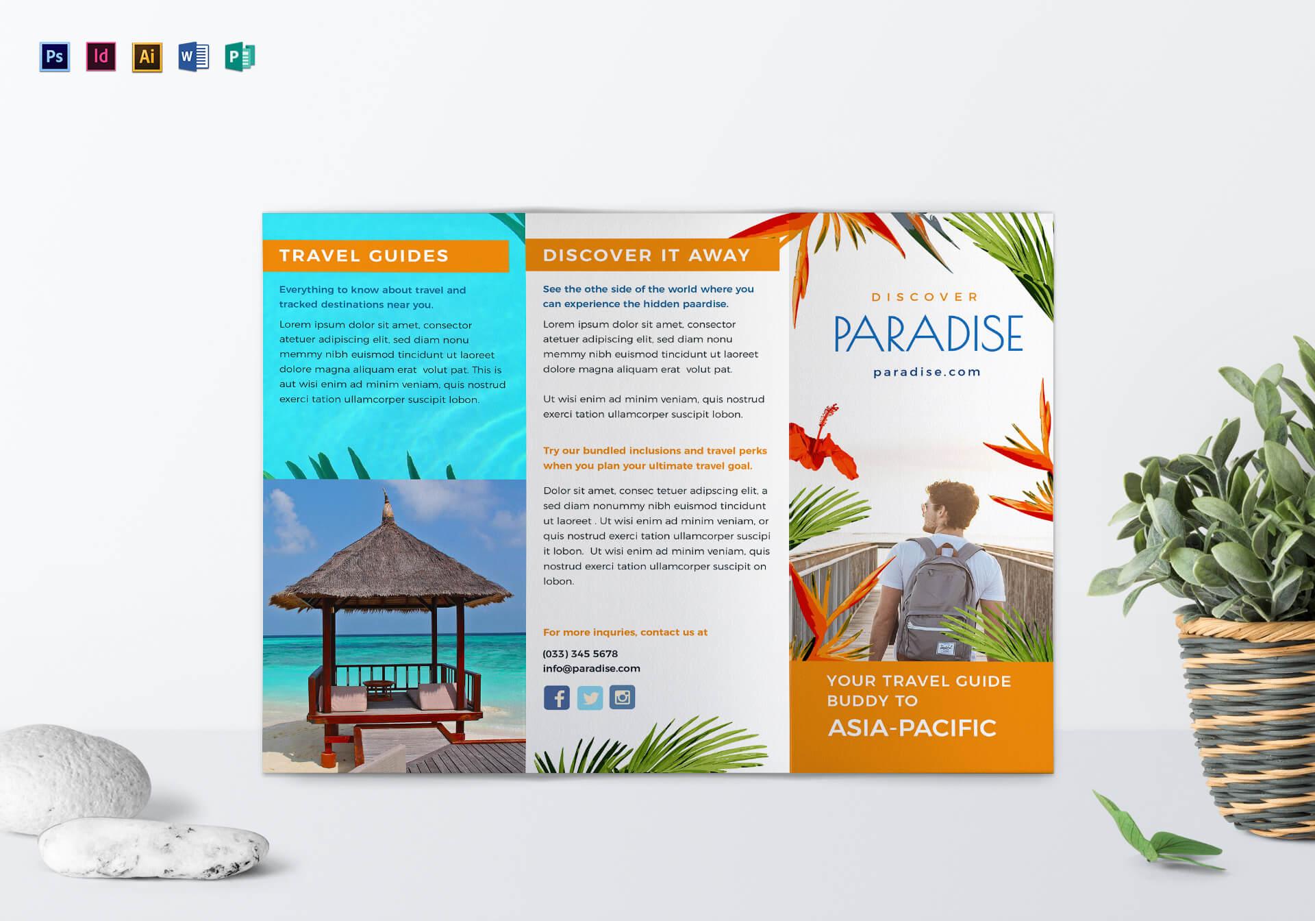 Travel Tri Fold Brochure Template With Regard To Tri Fold Brochure Publisher Template