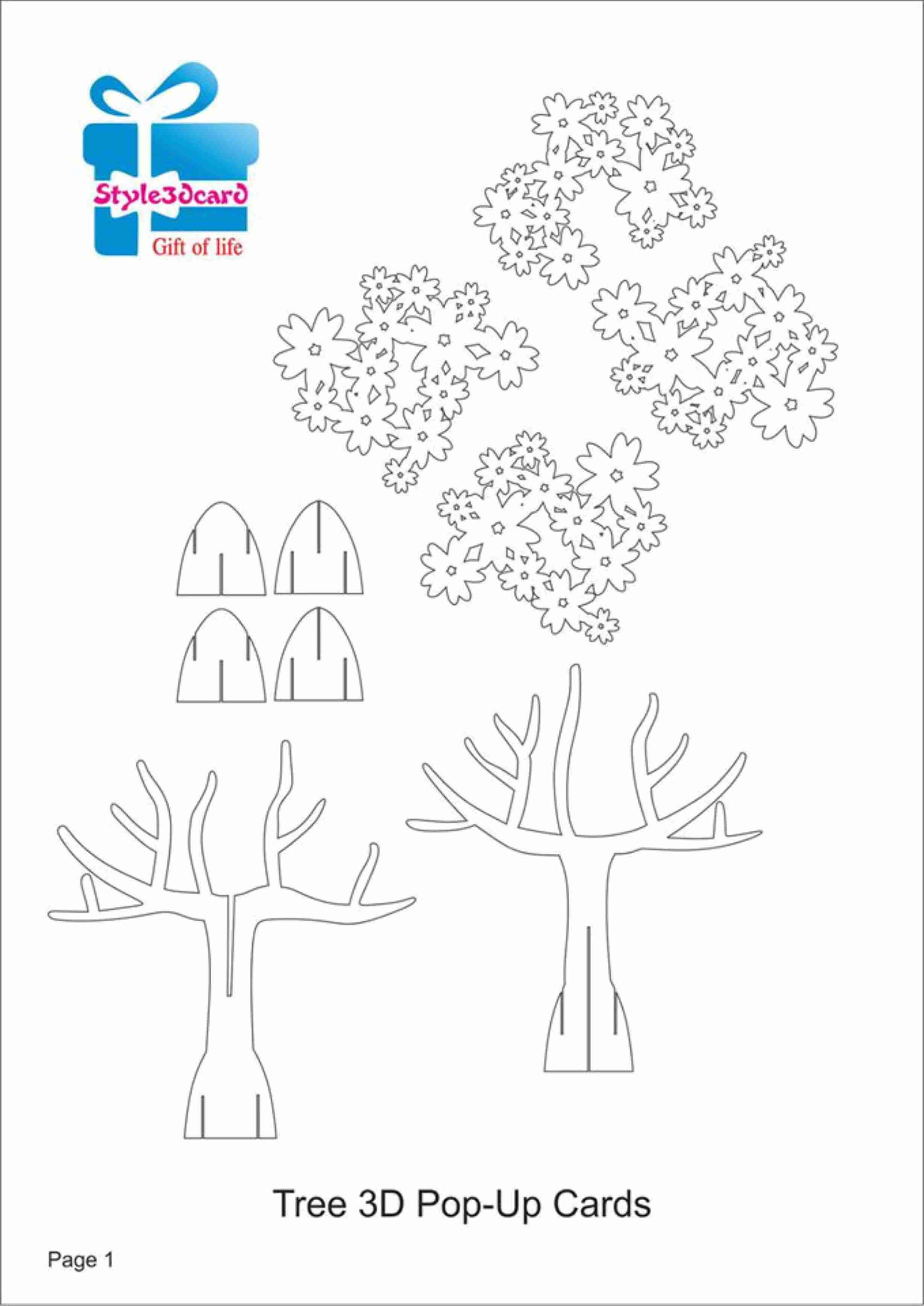 Tree 3D Pop Up Card/ Kirigami Pattern 1   Kirigami Art   Pop Pertaining To Pop Up Tree Card Template