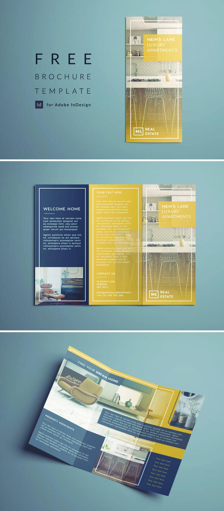 Tri Fold Brochure   Free Indesign Template pertaining to Brochure Template Indesign Free Download