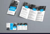 Tri-Fold Brochure Template With Blue Rectangular with Free Three Fold Brochure Template
