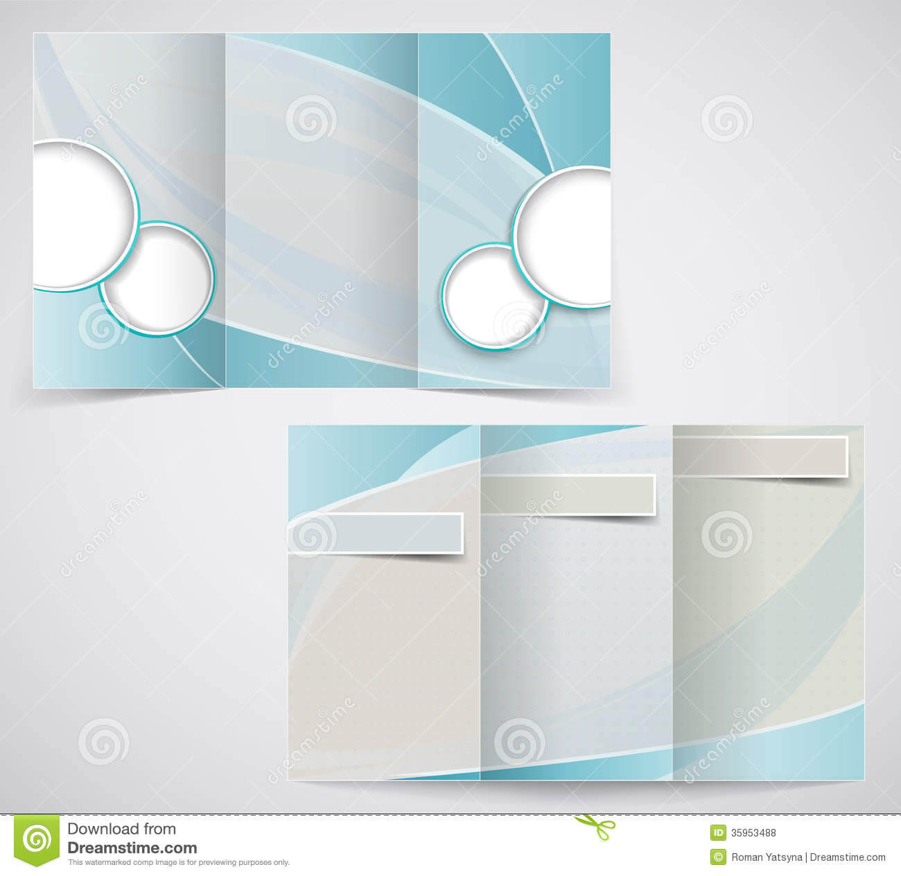 Tri-Fold Business Brochure Template, Vector Blue D Stock with regard to Brochure Template Illustrator Free Download