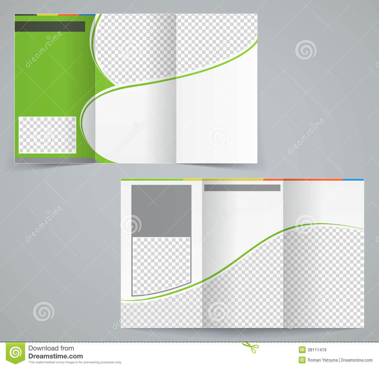 Tri-Fold Business Brochure Template, Vector Green Stock for Brochure Template Illustrator Free Download