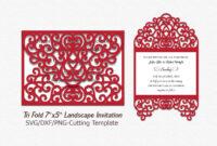 Tri Fold Card Invitation Svg Dxf Laser Machine Cut Template pertaining to Three Fold Card Template