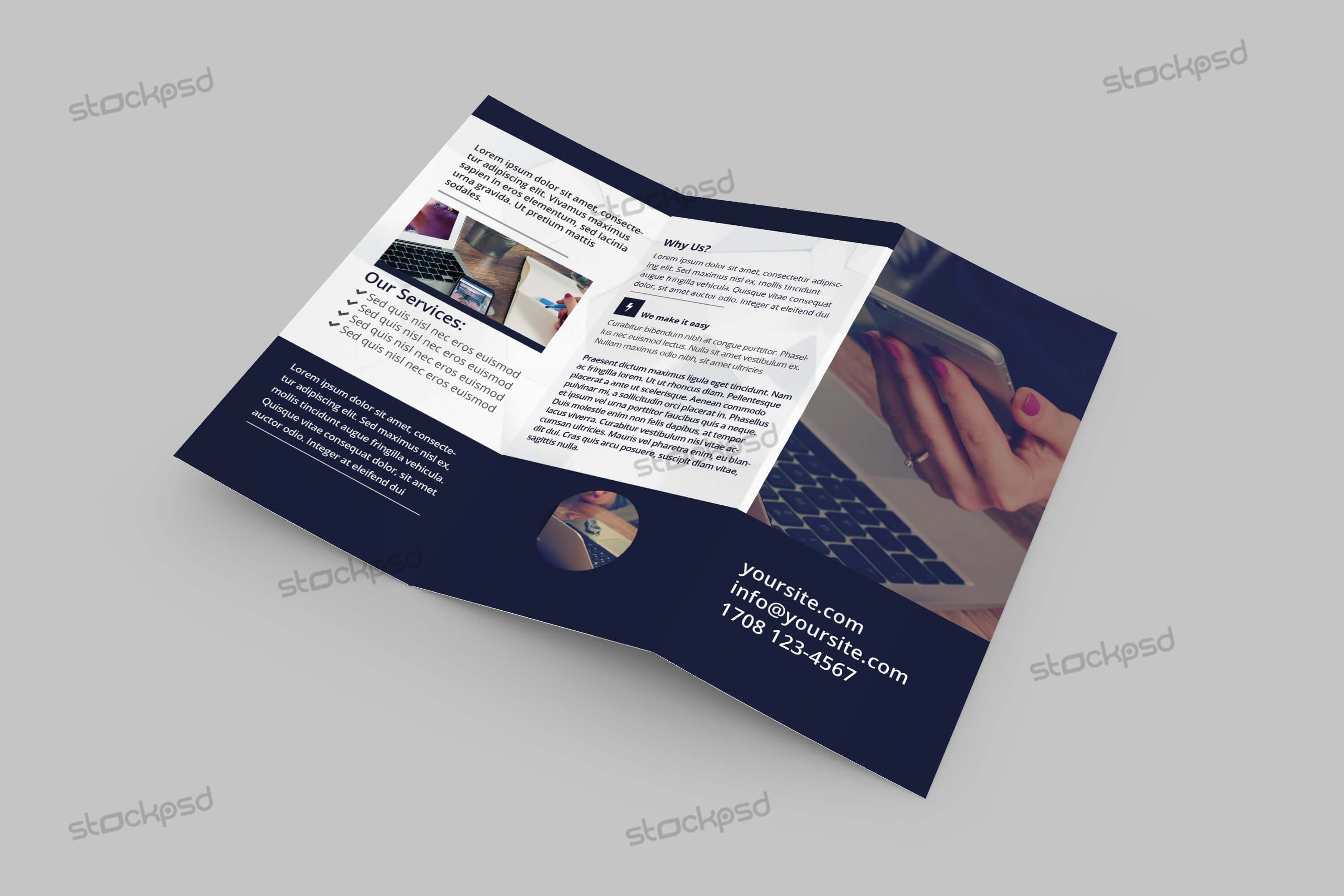 Tri Fold Corporate Brochure – Free Psd Template – Free Psd In Brochure Psd Template 3 Fold