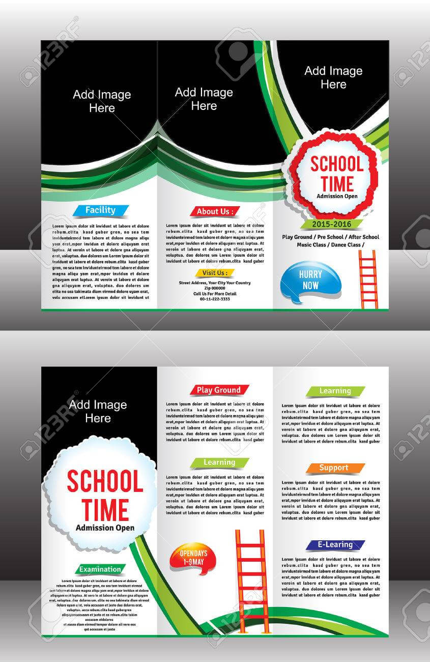 Tri Fold School Brochure Template Vector Illustration With Tri Fold School Brochure Template