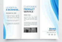 Trifold Brochure Design Template With Blue Wavy With Regard To E Brochure Design Templates