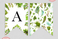 Tropical Greenery Baby Shower Bunting Flag Banner | Baby with Diy Baby Shower Banner Template