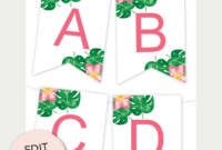 Tropical Printable Banner | Free Printables – Free Printable throughout Free Letter Templates For Banners
