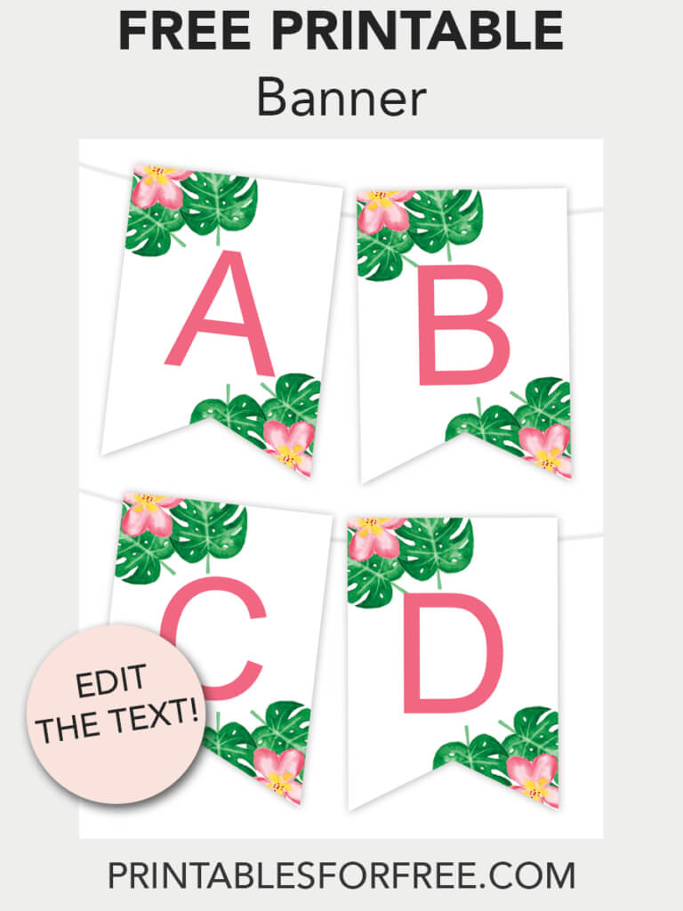 Tropical Printable Banner | Free Printables - Free Printable with regard to Printable Letter Templates For Banners