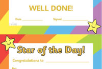 Twinkl Resources >> Star Of The Day A4 Poster >> Classroom In Star Of The Week Certificate Template