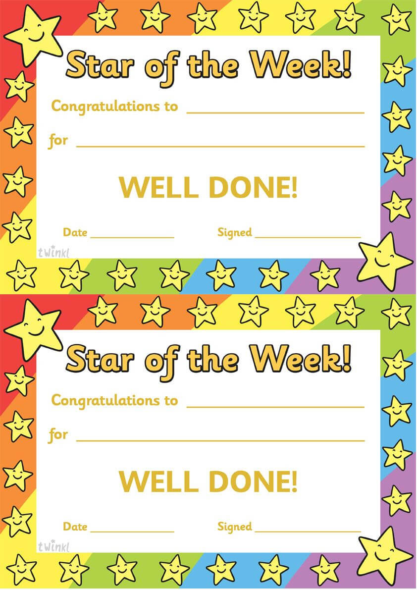 Twinkl Resources >> Star Of The Week >> Thousands Of With Star Of The Week Certificate Template