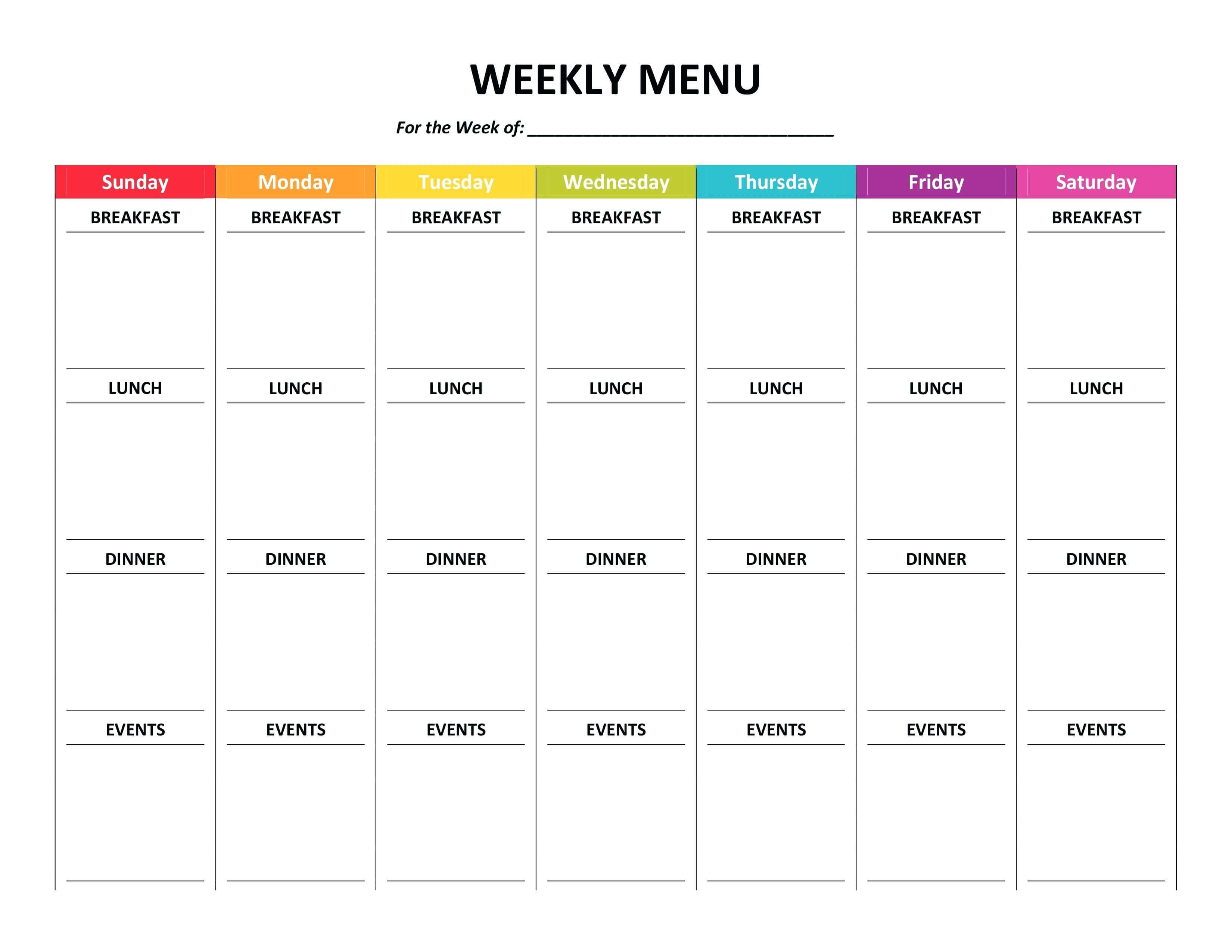 Unbelievable Free Meal Planning Templates Word Template throughout Weekly Meal Planner Template Word