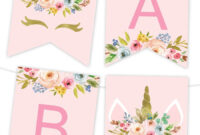 Unicorn Floral Printable Banner | Birthday Banner Template inside Free Happy Birthday Banner Templates Download