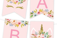 Unicorn Floral Printable Banner – Chicfetti For Printable Banners Templates Free