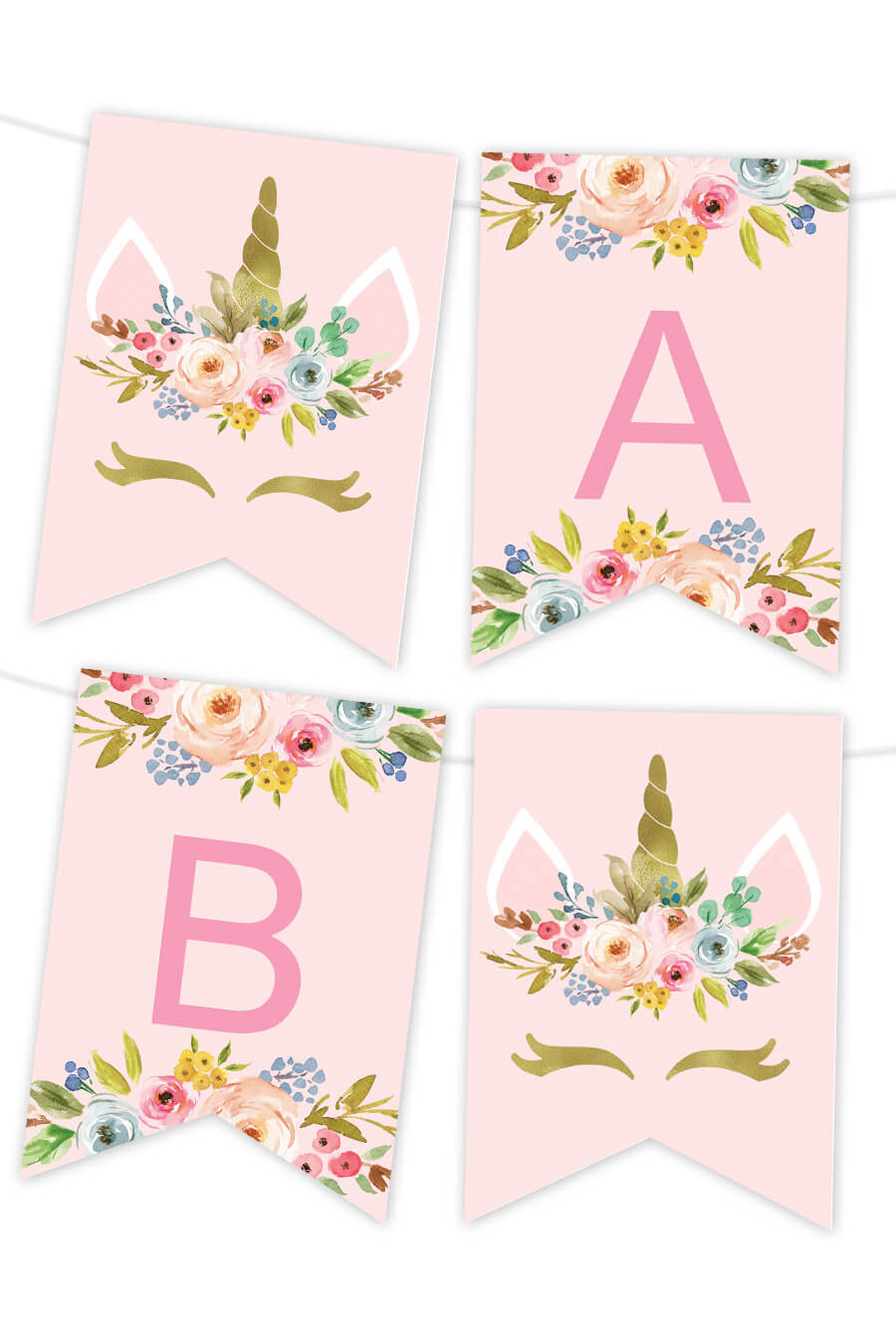 Unicorn Floral Printable Banner - Chicfetti for Printable Banners Templates Free