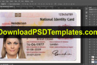 United Kingdom National Identity Card Template [Uk Id Card] with French Id Card Template
