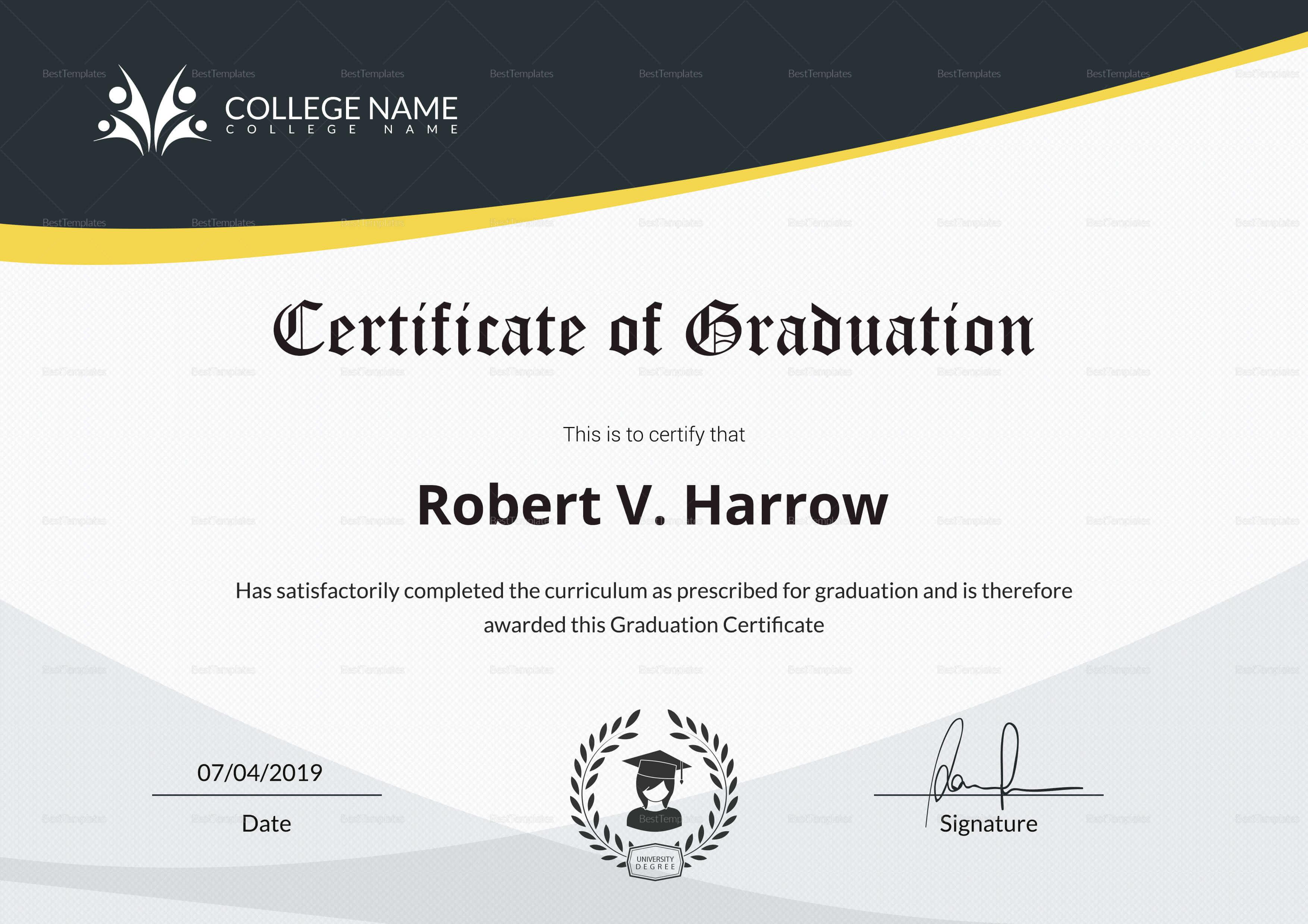 Universal College Graduation Certificate Template Inside College Graduation Certificate Template