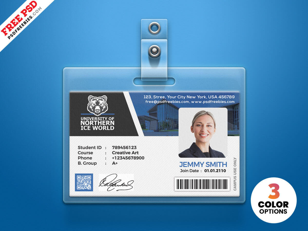 University Student Identity Card Psdpsd Freebies On Dribbble In College Id Card Template Psd