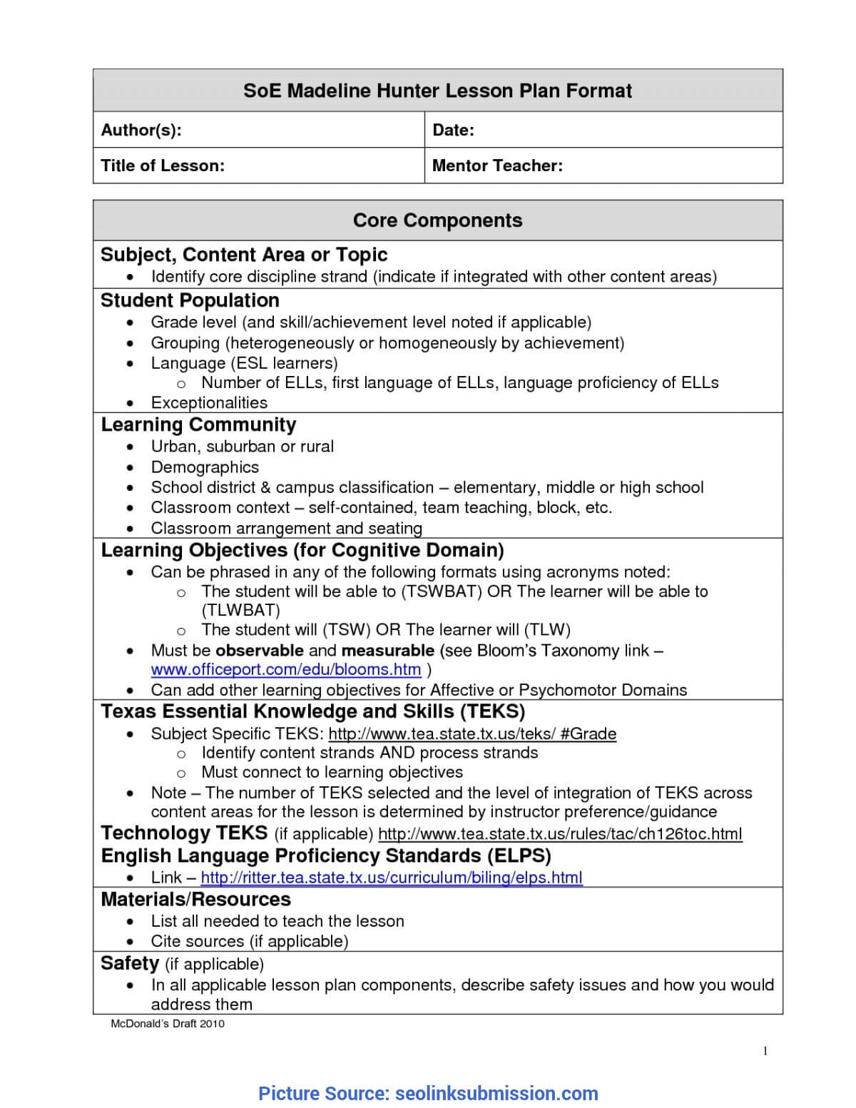 Unusual A Modern Version Of Madeline Hunter Lesson Plan pertaining to Madeline Hunter Lesson Plan Template Blank