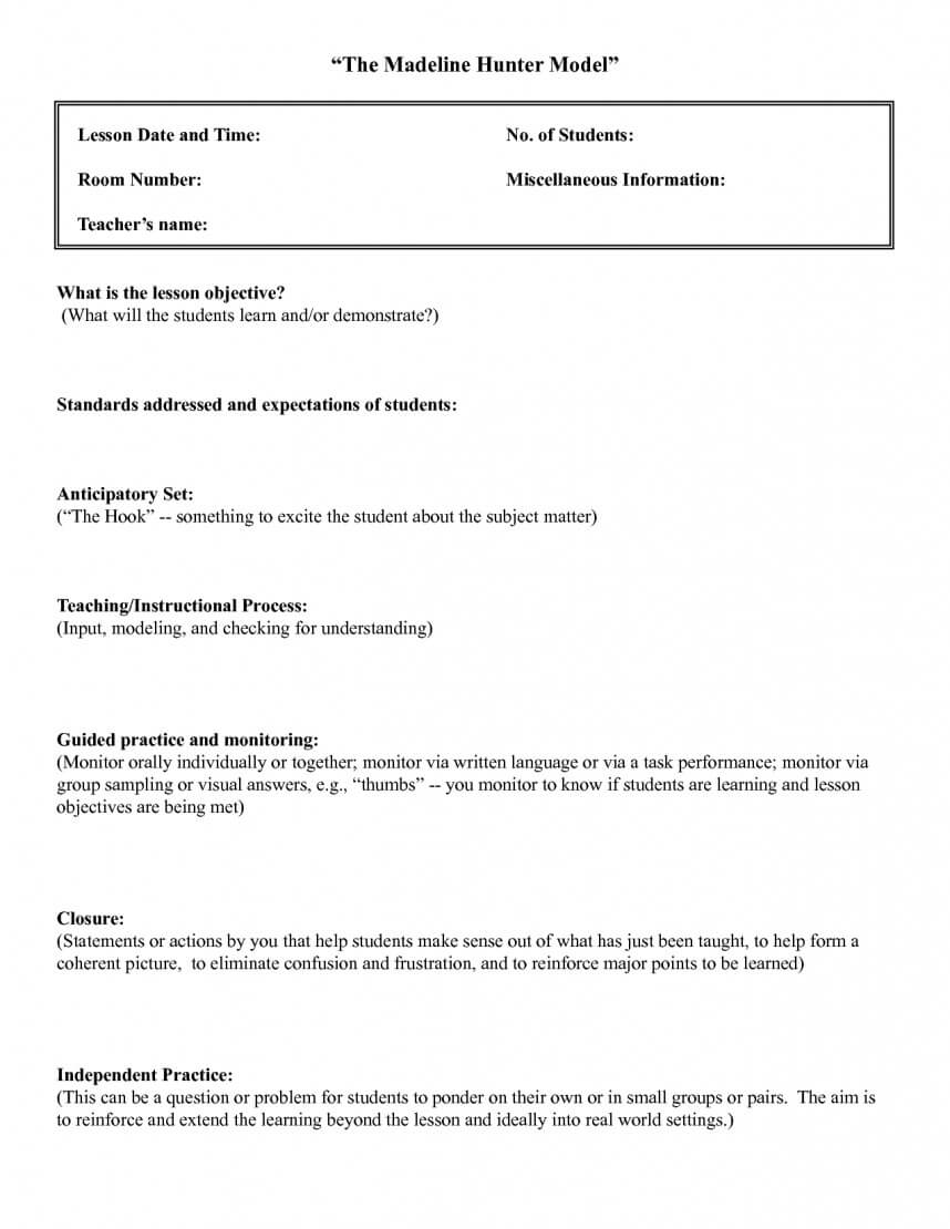 Unusual Madeline Hunter Lesson Plan Template Ideas Doc Pertaining To Madeline Hunter Lesson Plan Template Word