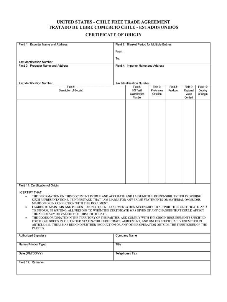 Us Chile Certificate Of Origin - Fill Online, Printable In Certificate Of Origin For A Vehicle Template