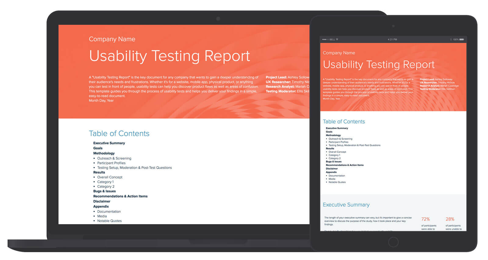 Usability Testing Report Template And Examples | Xtensio Within Test Result Report Template