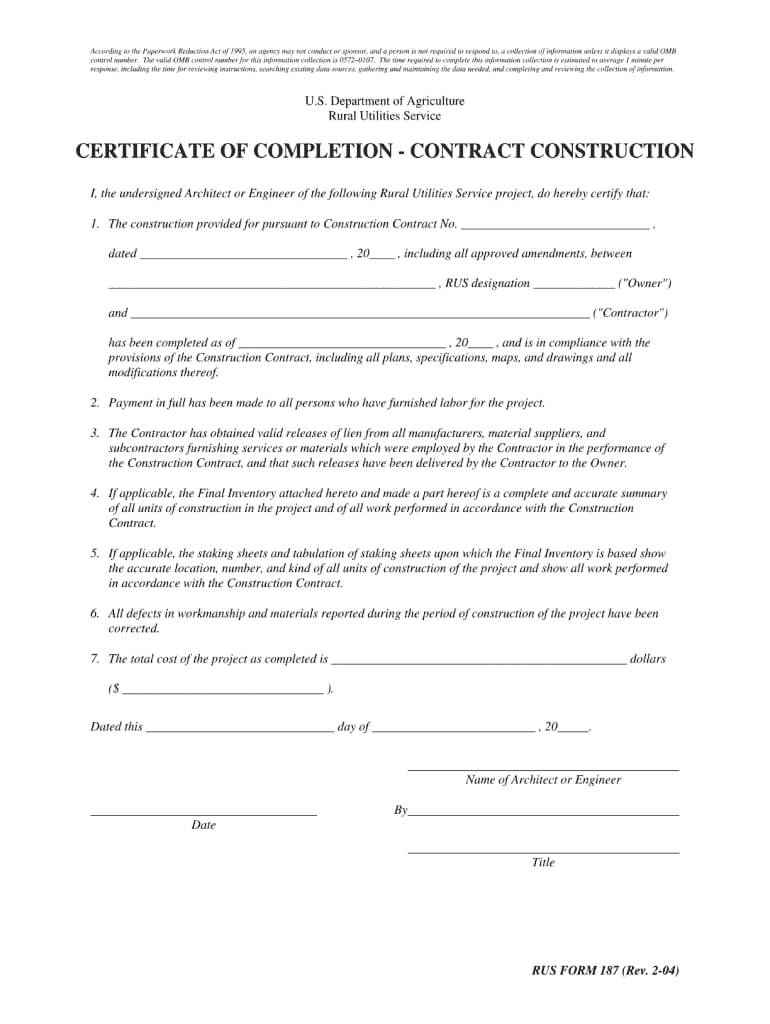 Usda Direct Constrution Loan Draw Form - Fill Online with regard to Construction Certificate Of Completion Template