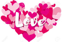 Valentine Card Template With Word Love On Heart Shapes Illustration for Valentine Card Template Word