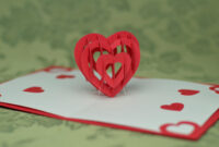 Valentine's Day Pop Up Card: 3D Heart Tutorial – Creative with Twisting Hearts Pop Up Card Template