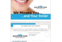 Variable Data Missed Appointment Reminder Card Templates inside Dentist Appointment Card Template