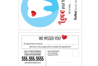 Variable Data Missed Appointment Reminder Card Templates intended for Dentist Appointment Card Template
