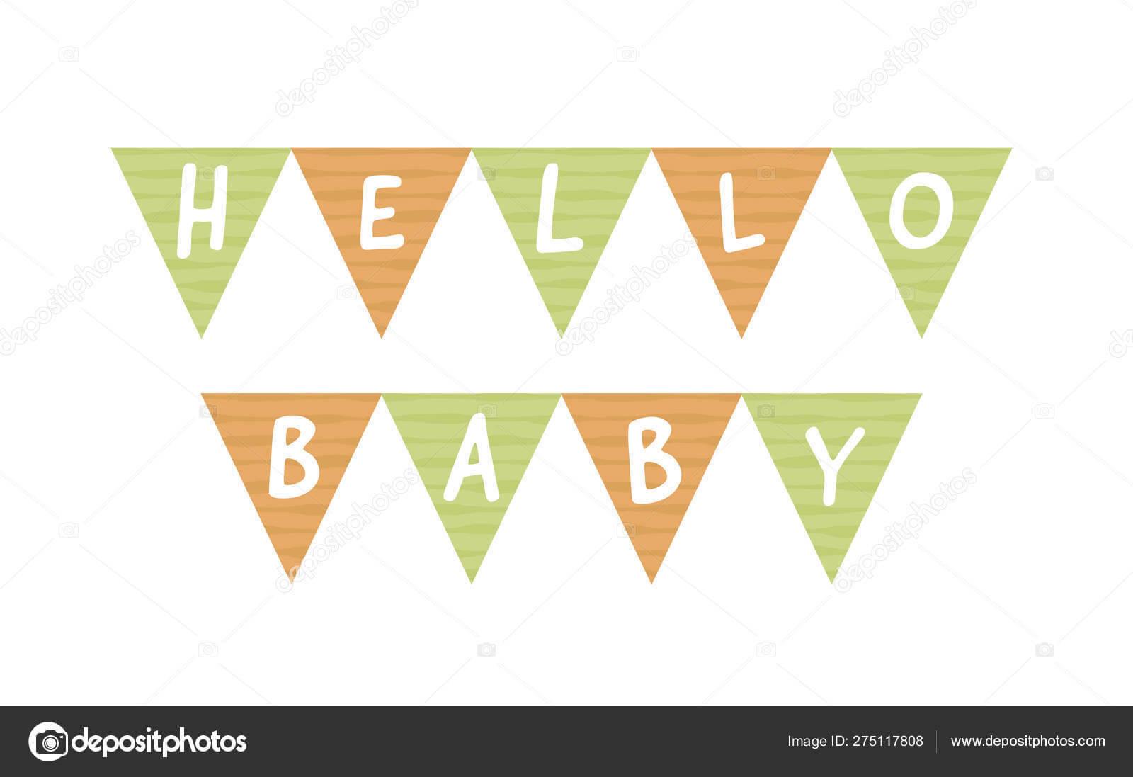 Vector Baby Shower Banner Template. Scandinavian Design With Baby Shower Banner Template