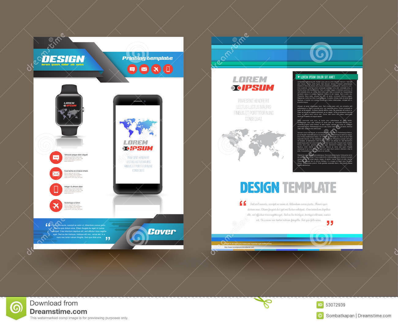 Vector Brochure Template Design For Technology Product inside Technical Brochure Template