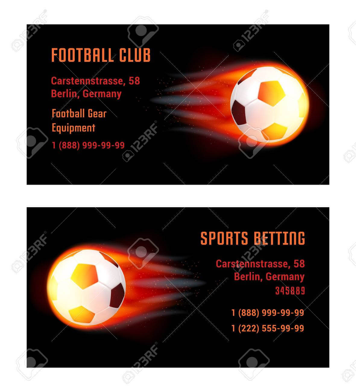 Vector Card Football Ball With Fire. Template For Football Club.. within Football Betting Card Template
