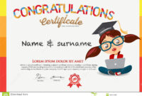 Vector Certificate For School Children Template. Stock inside Children's Certificate Template