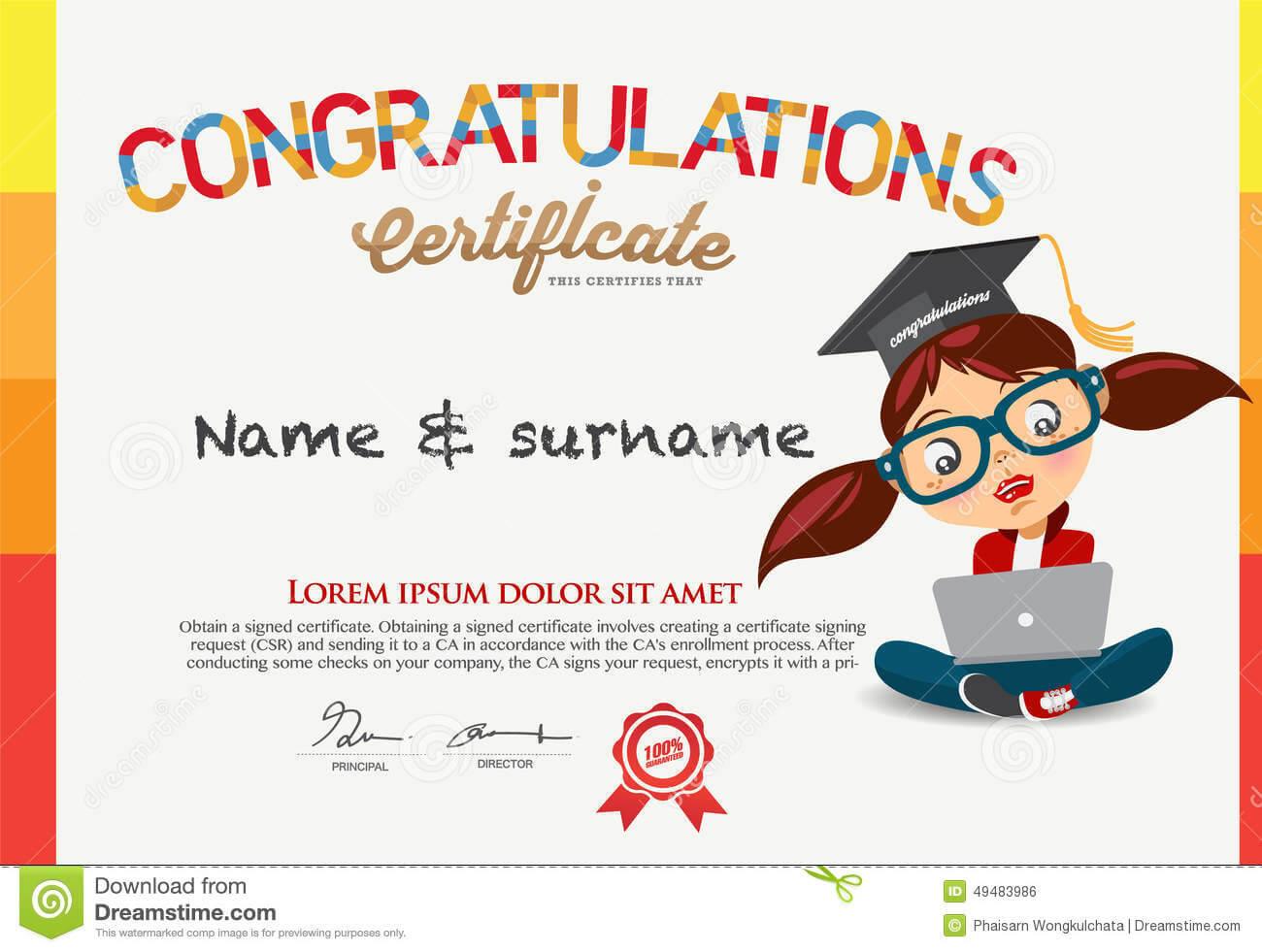 Vector Certificate For School Children Template. Stock inside Children's Certificate Template