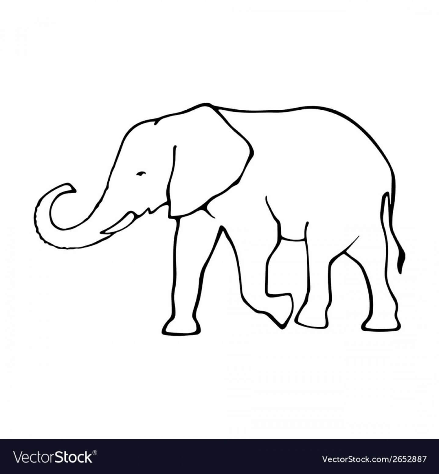 Vector Cute Elephant Stencil | Handandbeak Pertaining To Blank Elephant Template